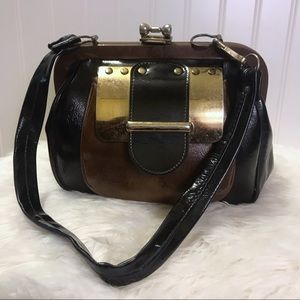 Vintage Vinyl and Metal Frame Handbag